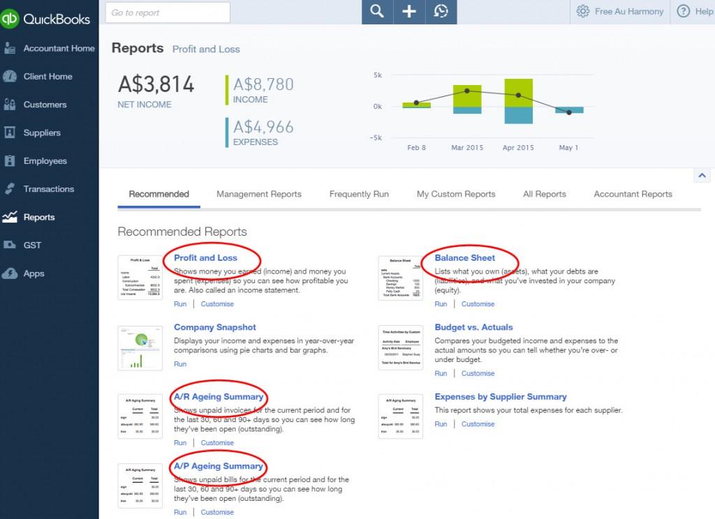 QuickBooks Online Report